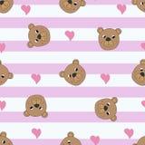 Modello senza cuciture con gli orsi svegli royalty illustrazione gratis