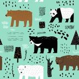 Modello senza cuciture con gli orsi svegli Fondo puerile degli animali per il tessuto del tessuto, carta da parati, carta da imba illustrazione di stock