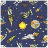 Modello senza cuciture con gli scarabocchi dello spazio cosmico, simboli Immagini Stock