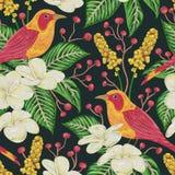 Modello senza cuciture con gli uccelli, i fiori, le bacche e le foglie tropicali Flora esotica e fauna illustrazione di stock