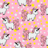 Modello senza cuciture con gli unicorni e le stelle unicorni su un fondo rosa Fabulou Fotografia Stock