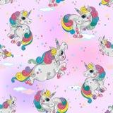 Modello senza cuciture con gli unicorni magici Fondo rosa del cielo con le stelle Per le ragazze Vettore illustrazione vettoriale