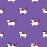 Modello senza cuciture con gli unicorni svegli, gatti divertenti con i corni Fotografia Stock