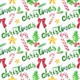 Modello senza cuciture con i bastoncini di zucchero, nastro rosso, agrifoglio dell'acquerello di Natale di inverno su fondo bianc illustrazione di stock