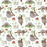Modello senza cuciture con i bradipi svegli che dormono sui rami tropicali delle liane illustrazione di stock