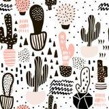 Modello senza cuciture con i cactus e le strutture disegnate a mano Perfezioni per tessuto, tessuto Fondo di vettore Fotografie Stock Libere da Diritti