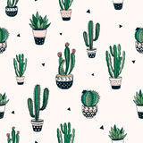 Modello senza cuciture con i cactus ed i succulenti Immagine Stock Libera da Diritti