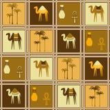 Modello senza cuciture con i cammelli e le palme Immagini Stock