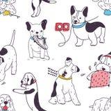 Modello senza cuciture con i cani divertenti che dimostrano le cattive abitudini e comportamento disubbidiente Contesto con domes illustrazione vettoriale