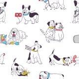 Modello senza cuciture con i cani svegli che dimostrano le cattive abitudini e comportamento Contesto con gli animali domestici i royalty illustrazione gratis