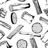 Modello senza cuciture con i ceppi, i tronchi e le plance di legno Fondo per silvicoltura ed industria del legname illustrazione di stock