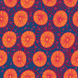 Modello senza cuciture con i cerchi arancio astratti illustrazione vettoriale