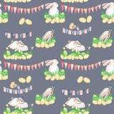 Modello senza cuciture con i conigli di Pasqua dell'acquerello in erba, uova e ghirlande con le bandiere Immagini Stock Libere da Diritti