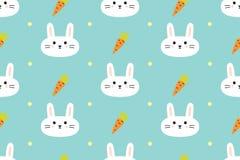 Modello senza cuciture con i conigli e le carote svegli Fotografie Stock Libere da Diritti
