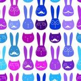Modello senza cuciture con i conigli ed i gatti svegli Immagini Stock