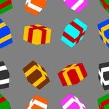 Modello senza cuciture con i contenitori di regalo colorati su fondo grigio Illustrazione di vettore per la vostra acqua dolce di illustrazione di stock