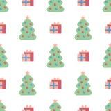 Modello senza cuciture con i contenitori di regalo e gli alberi di Natale sui precedenti bianchi illustrazione di stock