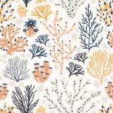 Modello senza cuciture con i coralli ed alga o alghe su fondo bianco Contesto con le specie esotiche del fondale marino, subacque illustrazione di stock