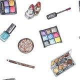 Modello senza cuciture con i cosmetici messi in acquerello Immagini Stock Libere da Diritti