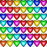 Modello senza cuciture con i cuori nei colori dell'arcobaleno Fotografie Stock