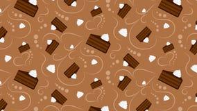 Modello senza cuciture con i dolci di cioccolato e la panna montata illustrazione di stock