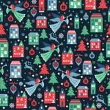 Modello senza cuciture con i fiocchi di neve ed angeli per il Natale che imballa, tessuti, carta da parati Illustrazione di vetto illustrazione vettoriale