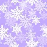 Modello senza cuciture con con i fiocchi di neve Fondo per lo spostamento di regalo Tessuto della decorazione Progettazione della Fotografie Stock