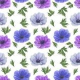 Modello senza cuciture con i fiori Anemone Illustration dell'acquerello del tessuto di carta fatto a mano di Digital di strutture royalty illustrazione gratis