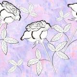 Modello senza cuciture con i fiori in bianco e nero Fotografie Stock