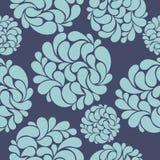 Modello senza cuciture con i fiori blu astratti Immagine Stock Libera da Diritti