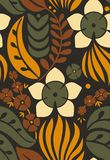Modello senza cuciture con i fiori decorativi creativi nello stile scandinavo Stile nordico Grande per tessuto, avvolgentesi, tes illustrazione di stock