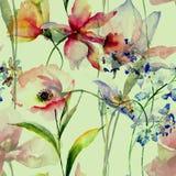 Modello senza cuciture con i fiori decorativi della molla Immagine Stock Libera da Diritti