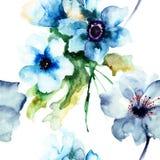 Modello senza cuciture con i fiori del blu di estate Fotografia Stock Libera da Diritti