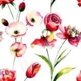 Modello senza cuciture con i fiori del papavero e del tulipano Fotografia Stock