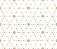 Modello senza cuciture con i fiori dell'oro, linea struttura di vettore geometrico semplice moderno su fondo bianco Estratto chia illustrazione vettoriale