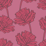 Modello senza cuciture con i fiori dipinti a mano di schizzo Fotografia Stock