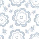 Modello senza cuciture con i fiori e le foglie grigi stilizzati illustrazione vettoriale