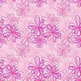 Modello senza cuciture con i fiori ed i nastri su fondo rosa Fotografie Stock