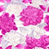 Modello senza cuciture con i fiori ed i petali bianchi e rosa delle peonie fondo nei colori morbidi royalty illustrazione gratis