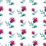 Modello senza cuciture con i fiori moderni di fantasia su un fondo bianco Illustrazioni dell'acquerello Acquerello di vettore Immagine Stock
