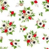 Modello senza cuciture con i fiori rossi e bianchi Illustrazione di vettore Fotografia Stock