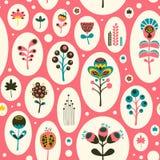 Modello senza cuciture con i fiori variopinti su fondo rosa Fotografie Stock Libere da Diritti