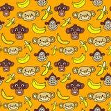 Modello senza cuciture con i fronti svegli delle scimmie e delle banane Immagini Stock Libere da Diritti