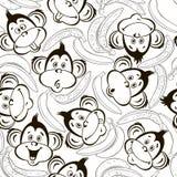 Modello senza cuciture con i fronti svegli delle scimmie e delle banane Scherza il Mo illustrazione vettoriale
