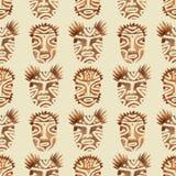 Modello senza cuciture con i fronti tribali di Brown watercolor trama immagine stock
