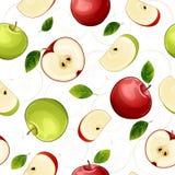 Modello senza cuciture con i frutti della mela Immagini Stock