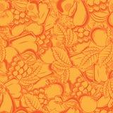 Modello senza cuciture con i frutti e le foglie di autunno Immagini Stock Libere da Diritti