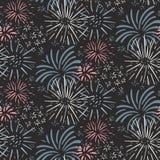 Modello senza cuciture con i fuochi d'artificio disegnati a mano Fondo senza fine di vettore variopinto di festa royalty illustrazione gratis