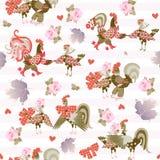 Modello senza cuciture con i galli e galline divertenti, rose rosa e foglie di viburno su fondo a strisce delicato Stampa per tes royalty illustrazione gratis