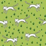 Modello senza cuciture con i gatti bianchi svegli Fotografia Stock Libera da Diritti